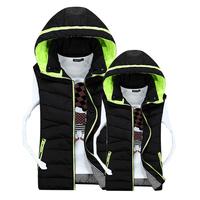 2014 New Hoodie Cotton Sports Waistcoat Mens Warm Vest Fashion Male Sleeveless Coat Plush Size S-3XL
