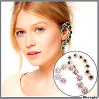 Fashion Crystal Flower ear cuff Clear Green Rhinestone Clip earrings Jackets ear hook banquet party earring for girls women 2014
