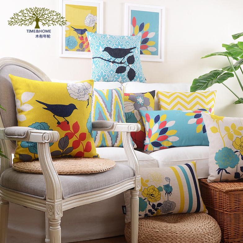flower bird rectangle teal decorative throw pillows cover sofa cushion