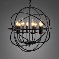 E14*6 Light Source Iron Pendant Light 52CM  Kitchen Edison dinning handing Restaurant Creative Metal Chandelier Lighting Fixture