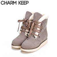 2014 New Arrival Winter Women Snow Boots.Lace-up Warm Fur Inside And Turn down Ankle Boots,Falt With Platform Shoes 1463