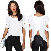Short Sleeve Women T shirt Chiffon T shirt Tops Backless Cut-out Shirt Hollow For Freeshipping