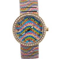 Free Shipping Fashion Elegant Simple Fringe pattern Style Metal Spring Band Wrist Watch