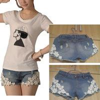 Fashion Korean Style Sweet Lace Embellished Denim Shorts Blue Women's jeans Shorts short Pants SE1381