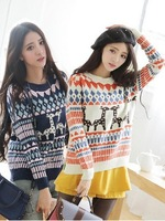 Korean version thickening loose College deer Christmas sweater geometric Round neck sweater knitwear 2014 spring autumn winter