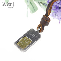 Free Shipping, 2015 Fashion Genuine Leather Necklace Sweater Chain New Arrival SIM Card Pendent Unisex Gift Men Women CLPS-036