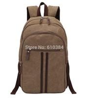 Fashion Men Women Canvas Backpack Knapsack Laptop Khaki Sport Hiking Laptop Bag Capacity Luggage