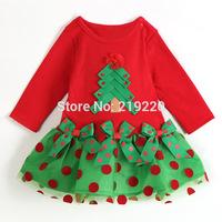 New children Girl Christmas Dress Girl's Short Long Sleeve Merry Christmas Dress Kids Cotton Dot Casual Dress Girls Tutu Dress