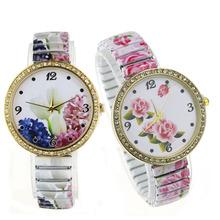 2014 Stylish Women Flowers Flowral Printed Ceramic Strap Quartz Analog Watches Crystal Embed Bracelet Jewelry Gifts