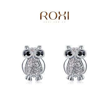 2015 ROXI мода девушки серебро сова серьги, серьги для элегантных женщин ну вечеринку, nickeless, оптовая продажа, рождество / день рождения подарки