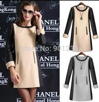 Women patchwork  OL long  leather  sleeve o -neck dress