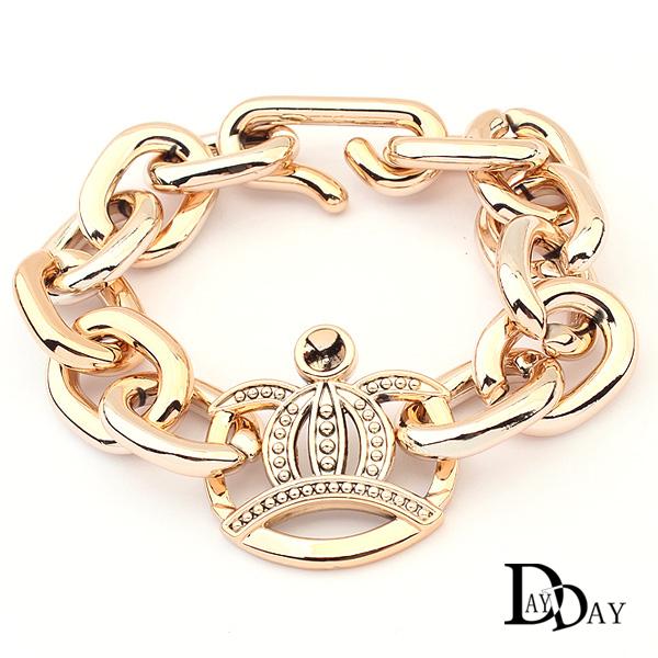 2014 New Punk Rock Bracelet Gold Crown Acrylic Chunky Chain Cuff Bracelets pulseiras femininas Women Hand Jewellery Gift(China (Mainland))