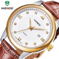 Free shipping new WEIDE fashion quartz 30m water resistant genuine leather straps watches calendar analog ladies watch 2014