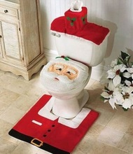 Happy Santa Toilet Seat Cover and Rug Bathroom Set Christmas Home Decorations Free Shipping(China (Mainland))