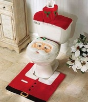 Happy Santa Toilet Seat Cover and Rug Bathroom Set Christmas Home Decorations Free Shipping