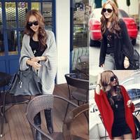 2014 Winter Sweater Women's Cardigans 3 Colours Long Sleeve Girl Casual Jackets Shawl Cape Women's Wool Blend Coats SV22