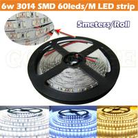 Free shipping DC12V 6W 3014 SMD 60leds FLEX LED Strips Flexible White Warm Cool Strip Light no waterproof Bright lighting