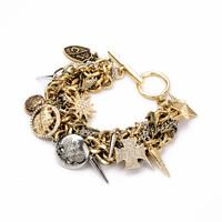 New 2014 Punk Spike Womens Gold Bracelets Bangles Luxury Joyeria Pulseiras Europeus Jewellery Bisuteria New Year Christmas Gift