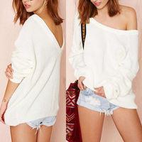 2014 New Fashion Loose Women Sweater Long Sleeve O Neck Pullover Back Deep V Neck Bat Sleeve
