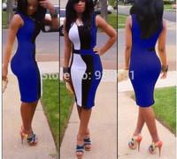 Free Shipping Elegant European Style Women Pencil Dress Blue Black White Patchwork Party Dress Hot Slim Sleeveless Club Wear