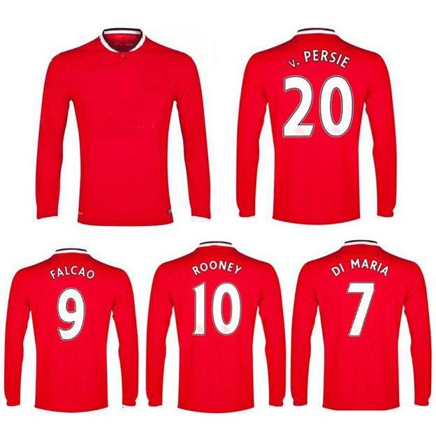 14 15 Manchester Long Sleeve Red ROONEY FALCAO DI MARIA WELBECK PERSIE GIGGS BECKHAM NANI Januzaj 2015 Football shirt Jerseys(China (Mainland))