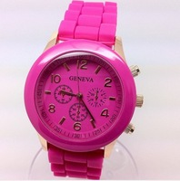 50/lot Geneva Rose-Gold colorsed style Quartz watch fashion Unisex rubber candy jelly silicone candy watches Top Quality