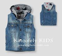 2014 New Fashion Boys Kids Coat Jacket Vest Hooded Pure Color Denim clothing Jeans Spring Autumn 6 pcs lot Free Shipping