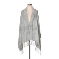 Fashion Autumn Winter Women Poncho Shawl Natural Rabbit Fur Collar with Tassles Lady Wraps Soft Scarf QD27906