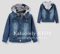 2014 New Fashion Boys Kids Coat Jacket Hooded Pure Color Star Denim clothing Washing Spring Autumn 6 pcs lot Free Shipping