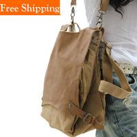 2014 New Korea Unisex Preppy Style One Shoulder Cross-Body Canvas Bags Vintage School Boys Women Travel Bags Plaid Casuel Bag