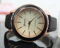 Hot sale 100pcs/lot Promotion Geneva Black watches Unisex Fashion Leather Watch For Ladies Women Quartz Watches Free Shipping