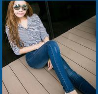Drop shipping scratched high waist denim pants skinny jeans for 2014 women black blue Lightblue