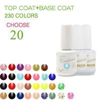 (Choose 20 Color+Base Top Coat)Cristina Professional 230 Colors Temperature Change Luminous Color Uv Nail Gel Polish Varnish Set