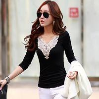 Ladylike Style Autumn V-neck Applique Cotton Shirts Korean 2014 Slim Plus Size Long Sleeve Women Blouses A101