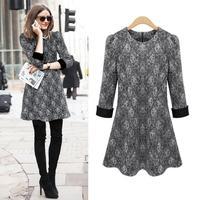 European and American plus size women dress 2014 winter newest woolen lace winter long seeve women dress L-4XL