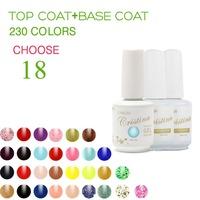 (Choose 18 Color+Base Top Coat)Cristina Professional 230 Colors Temperature Change Luminous Color Uv Nail Gel Polish Varnish Set