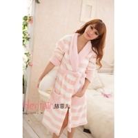free 2014 women warm winter night bath robe de chambre feminino brand soft pink dressing gown coral fleece house peignoir femme