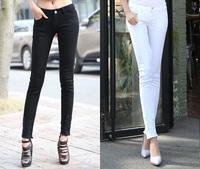 free shipping solid hole women fashion pencil pants skinny pants good quality white black