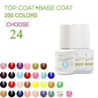 (Choose 24 Color+Base Top Coat)Cristina 230 Colors For Led Uv Soak Nail Gel Polish Glitter Temperature Change Luminous Color Set