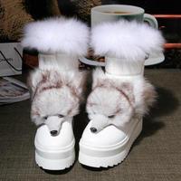 Hot 2014 Winter Boots Fox Tiger Decration Winter Rubber Sole Shoes Warm Snow Shoes 3color Size 35-39