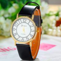 New Fashion Leather Strap Geneva Watches Women Dress Watches Quartz Wristwatch Watches AW-SB-1121