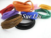 5pcs 5mmx1.5mm Multicolor Flat Faux Suede Velvet Leather Cord for Friendship Bracelet 1M/pcs NCS50