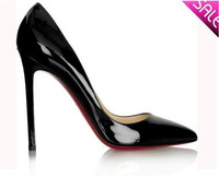 Classic women fashion brand high heels shoes thin high heels pointed toe red sole patent leather pumps black nude Eur size 35-41