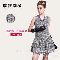 2014 early autumn fashion dress Europe Couture retro classic Argyle sleeveless vest  1905