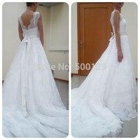 2014 Fall Winter Style A Line V Neckline Sleeveless V Back Chapel Train Lace Sash  Bridal Dresses Wedding Gowns Custom Made