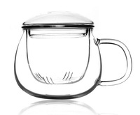 free shipping wholesale lowest price  gifts chinese 300ml shot clear glass tea cup set  with handle  lid  infuser