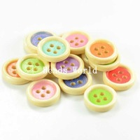 Wholesale Free Shipping 100 Pcs Mixed Multicolor Wood Sewing Buttons Scrapbooking Round 4 Holes Knopf Bouton 15mm(W04049)