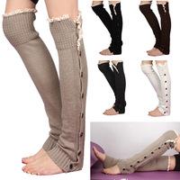 Hot Sale Women New Crochet Lace Trim Flat Button Down Braid Knit Leg Warmers Boot Socks Knee High Fashion 5 Colors