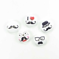 Wholesale Free Shipping 100 Mixed Funny Moustache Pattern 2 Holes Wood Sewing Buttons Scrapbooking Knopf Bouton 15mm(W04039)