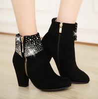 2014 Winter Fashion Rhinestone side zipper high-heeled boots women Martin boots  size 34 ~ 43